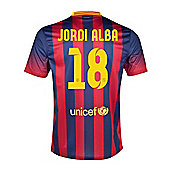 2013-14 Barcelona Home Shirt (Jordi Alba 18) - Red