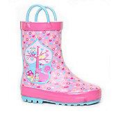 Brantano Girls Animal Tree Handle Pink Wellington Boot - Pink