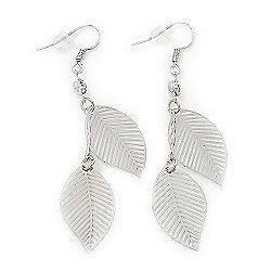 Silver Plated Filigree 'Leaf' Drop Earrings - 6cm Length