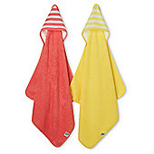 Mothercare Baby's Pink and Yellow Cuddle and Dry Hooded Towels - 2 Pack