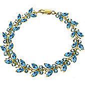 QP Jewellers 5.5in 16.50ct Blue Topaz Butterfly Bracelet in 14K Gold