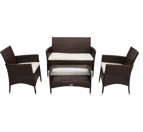 Buy Bentley Garden Rattan 4 Piece Brown Cream Furniture Set From Our Rattan Garden Furniture
