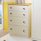 Welcome Furniture Warwick 4 Drawer Deep Chest - Cream with Oak Finishing