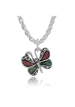 Gemondo 925 Sterling Silver Butterfly Green, Violet Enamel & Marcasite Pendant