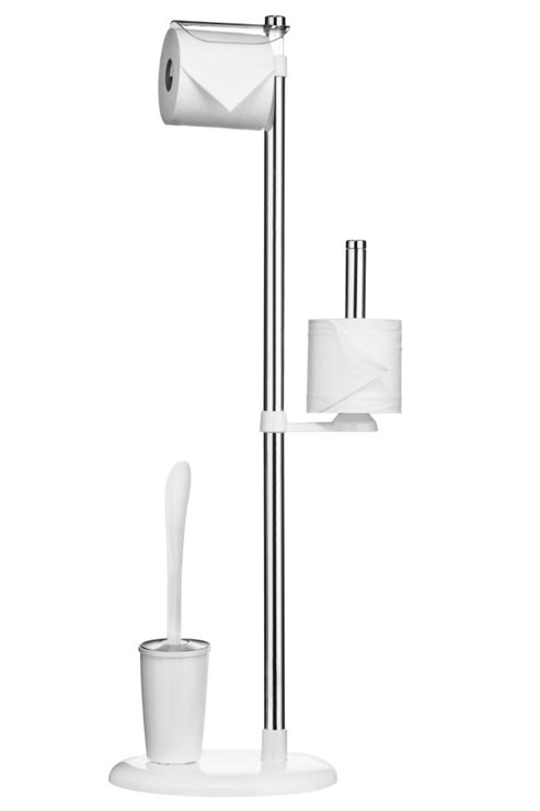 Premier Housewares Toilet Brush and Roll Holder in Aluminium / White