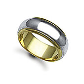 Jewelco London Bespoke Hand-Made 9 carat Yellow & White Gold 8mm D-Shape Wedding / Commitment Ring,