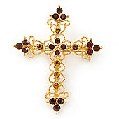 Victorian Style Diamante, Filigree 'Cross' Brooch In Gold Plating - 57mm Length