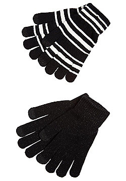 F&F 2 Pair Pack of Striped and Sparkly Touch Screen Gloves - Black