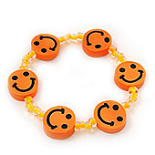 Children's Bright Orange Acrylic 'Happy Face' Bracelet - Adjustable