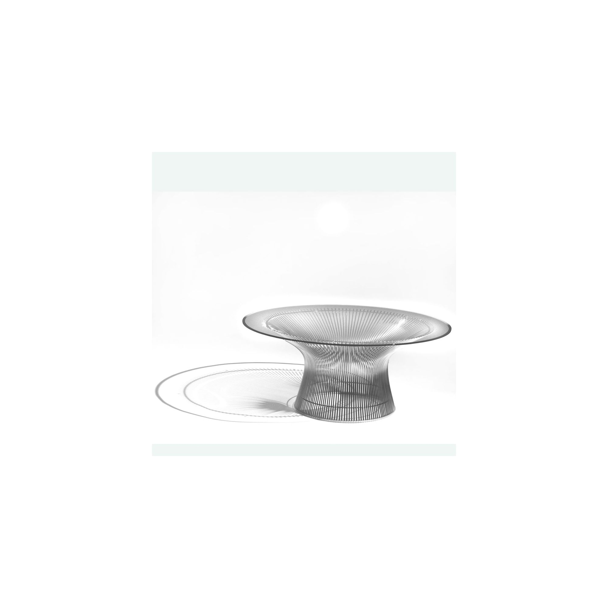 Knoll Coffee Table by Warren Platner - 91.5cm Dia / Polished Nickel / Clear Glass at Tesco Direct