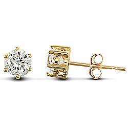 Jewelco London 9ct Solid Gold studs claw-set with 4mm Solitaire CZ stone