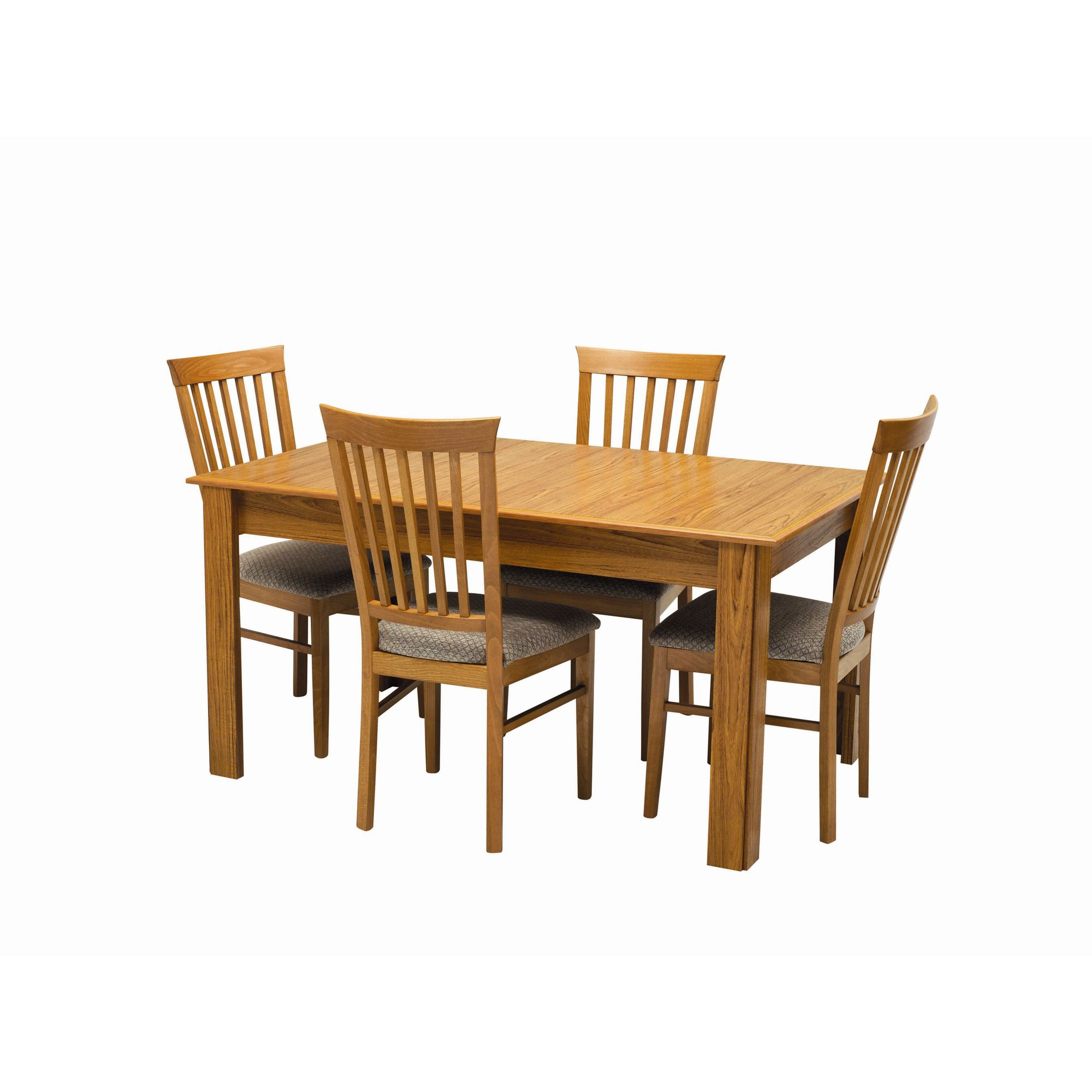 Caxton Tennyson Extending Dining Set with 4 Slatted Back Dining Chairs in Teak - Oyster at Tesco Direct