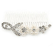 Bridal/ Wedding/ Prom/ Party Rhodium Plated Clear Austrian Crystal, Simulated Pearl Floral Hair Comb - 85mm