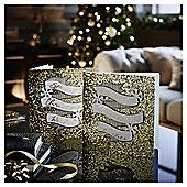 Luxury Gold Flitter Banner Christmas Cards, 6 pack