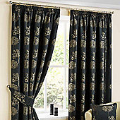 """Homescapes Jet Black Jacquard Curtain Pair Embroidered Trees 46x72"""""""