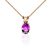 QP Jewellers 14in 1.15mm Oval Necklace with 0.85ct Pink Topaz Pendant in 14K Rose Gold