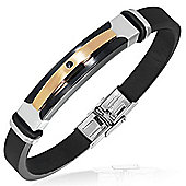 Urban Male CZ Set Modern Men's Bangle In Stainless Steel & Black Rubber
