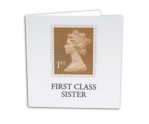STAMP COLLECTION - Greetings Card - First Class Sister