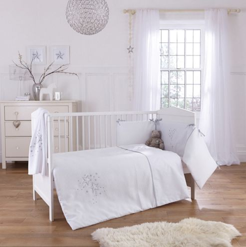 Clair De Lune Stardust 3 Piece Bedding Set - White