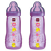 MAM Baby Bottle 330ml 2pk Purple