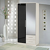 Amos Mann furniture Milano 2 Door 2 Drawer Wardrobe - Black and White