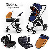 Riviera Plus 3 in 1 Chrome Travel System - Midnight Blue / Tan