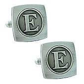 Antiqued Silver Plated Initial - E Cufflink - Single