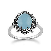 Gemondo 925 Sterling Silver Art Nouveau Blue Jade & Marcasite Ring