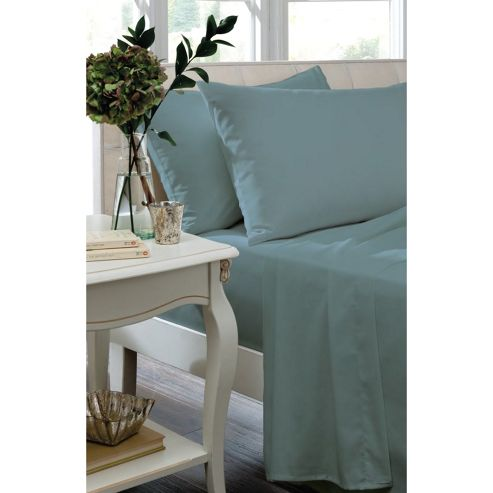 Catherine Lansfield Home Non Iron Percale Combed Polycotton Double Bed Fitted Sheet TEAL