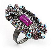 Black Tone Elongate Vintage Crystal Ring (Magenta)