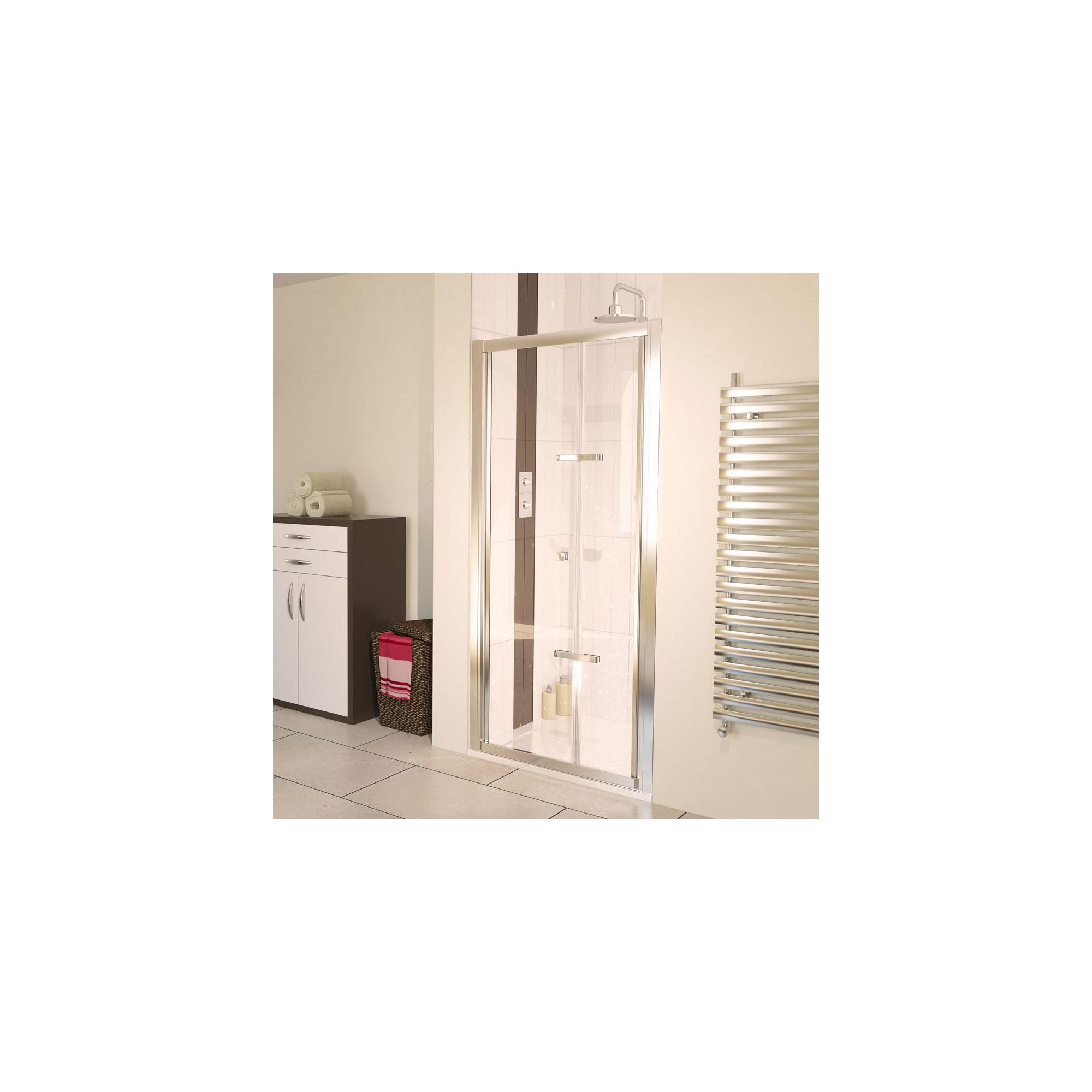 Aqualux AQUA6 Bi-Fold Shower Door, 900mm Wide, Polished Silver Frame, 6mm Glass at Tesco Direct
