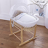 Clair de lune Stardust Natural Wicker Moses Basket - Blue