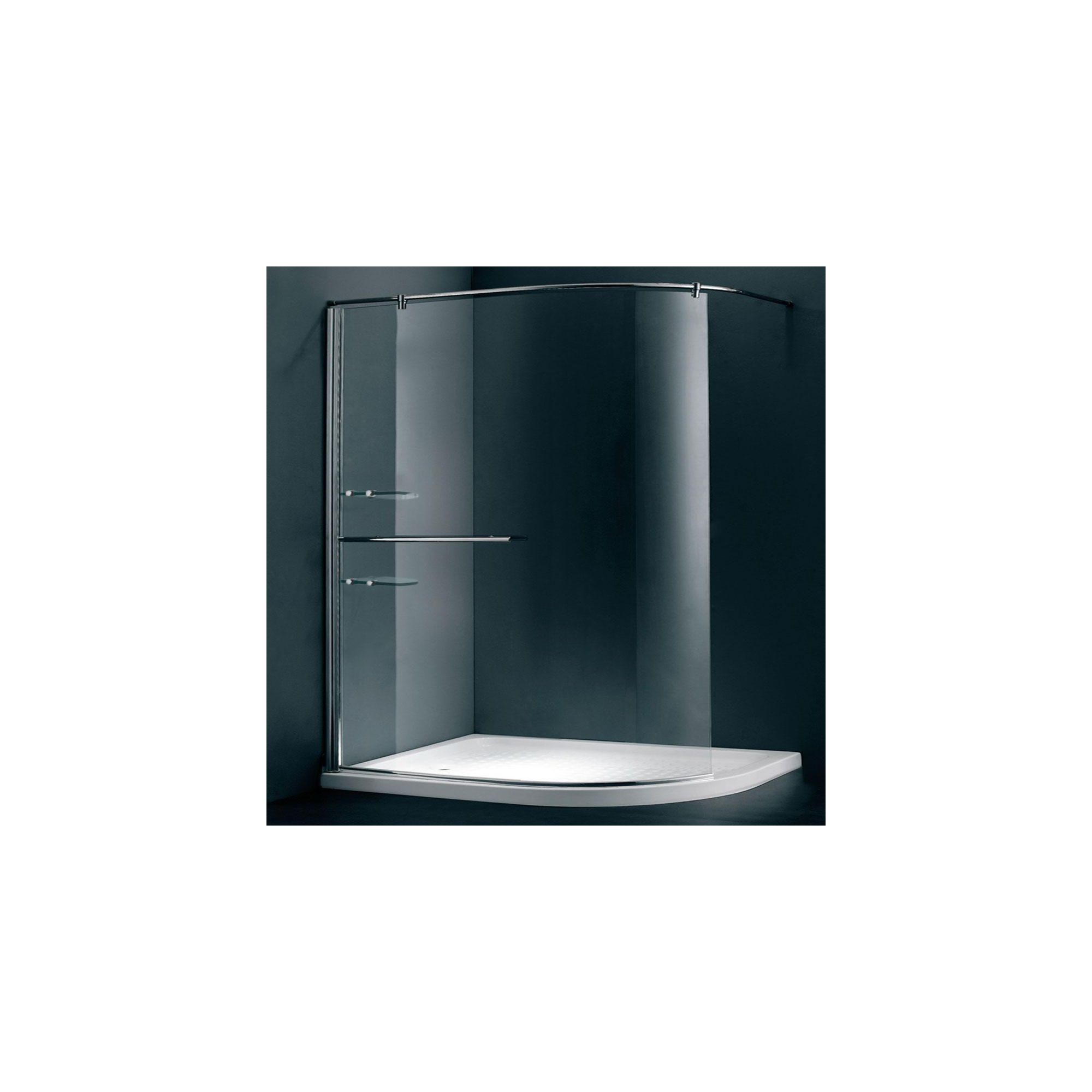 Duchy Style Curved Walk-In Wet Room Glass Shower Enclosure, 1200mm x 900mm, 6mm Glass, Low Profile Tray, Right Handed at Tesco Direct
