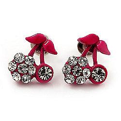 Tiny Deep Pink Enamel Diamante Sweet 'Cherry' Stud Earrings In Silver Tone Metal - 10mm Diameter