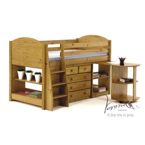 Verona Midsleeper Bed - Antique - Bed Frame Only