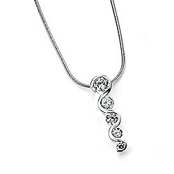 Sterling Silver CZ Wave Pendant