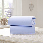 Clair de Lune Fitted Cotton Interlock Sheets - Moses Basket (Blue)
