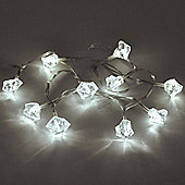 Diamond 10 LED Battery Operated String Lights Cool White