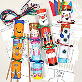 Colour in Christmas Cracker Kits for Children to Make and Decorate (Pack of 6)