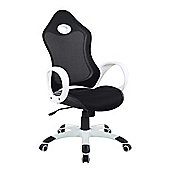 Racermesh White Office Chair - Fully Adjustable Padded Desk Swivel Chair