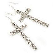 Large Pave Set Crystal 'Cross' Drop Earrings In Rhodium Plating - 8cm Length