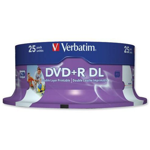 Verbatim 8.5GB DVD+R DL Printable 8X Disc, 25-pack