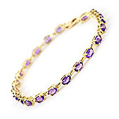 QP Jewellers 7.5in 5.50ct Amethyst Infinite Tennis Bracelet in 14K Gold