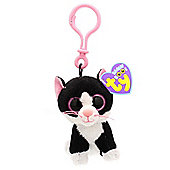 TY Beanie Boo Key Clip Black And White Cat Pepper