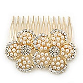 Bridal/ Wedding/ Prom/ Party Gold Plated Clear Swarovski Sculptured Double Flower Crystal/Pearl Hair Comb - 75mm