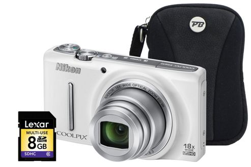 Nikon Coolpix S9400 White Camera Kit inc 8GB SD Card and Case