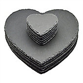 Argon Tableware Heart Shape Natural Slate Dining Set - 6 Coasters & 6 Placemats
