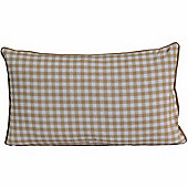 Homescapes Cotton Gingham Check Beige Scatter Cushion, 30 x 50 cm