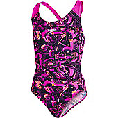 Speedo Girls Allover Splashback Print 38 Swimsuit - Pink