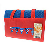 Country Club Red and Blue Beach Mat, Bunting Design